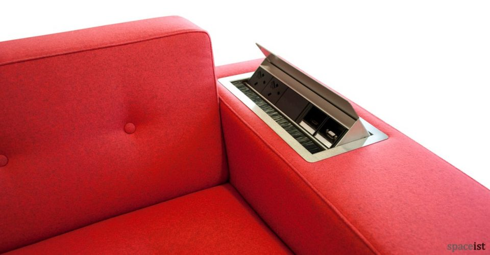 46 red button back sofa with plug socket in arm