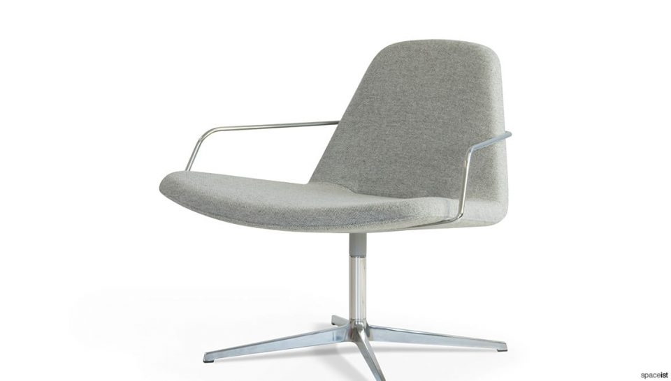 Light grey chair with armrests