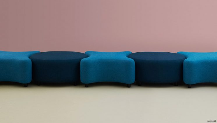 X & round stools in blue