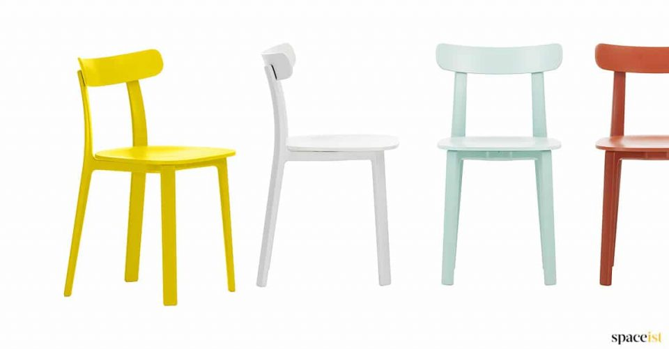 All plastic yellow retro cafe chair
