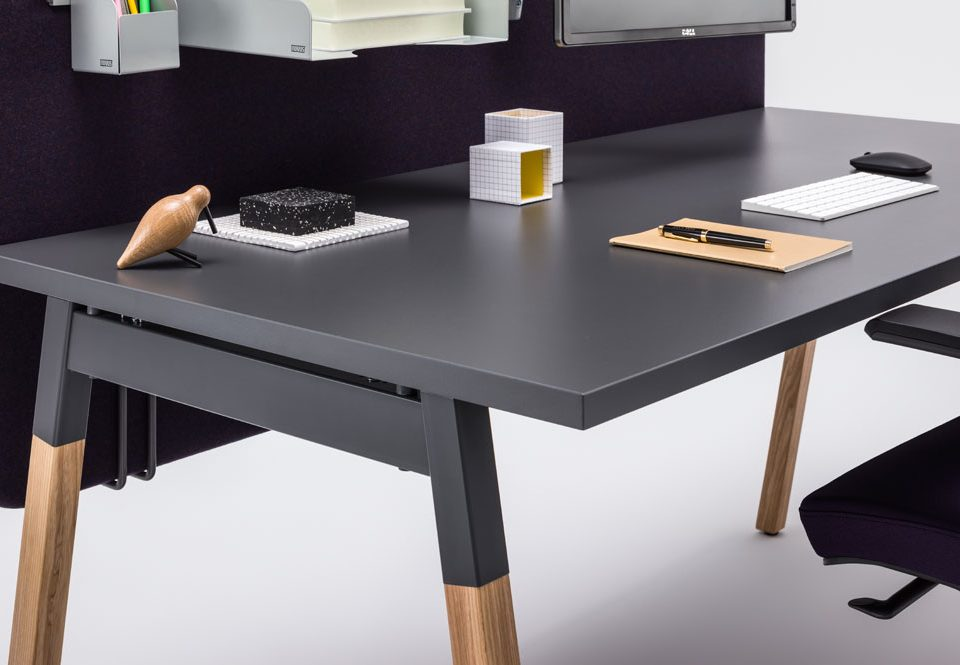 Black desk with oak legs