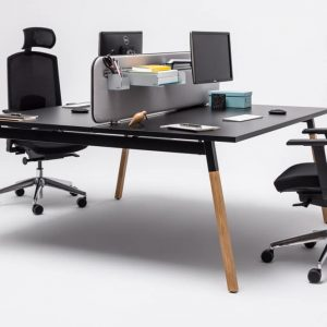 Black desk with screen