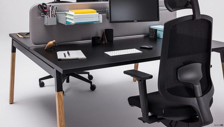 Black desk closeup