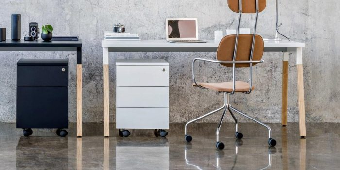 Desk with Oak Legs and a Grey Top