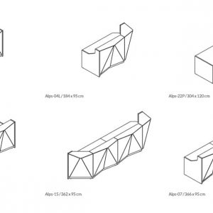 Alps angular white glass reception desk CAD