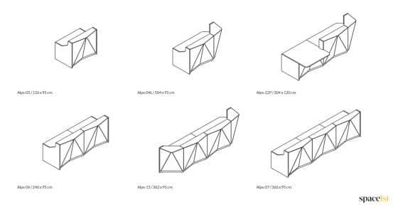 Alps angular white glass reception desk CAD