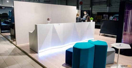 Alps white glass reception desk