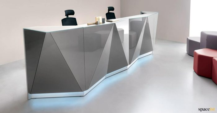 2 person Silver glass reception desk