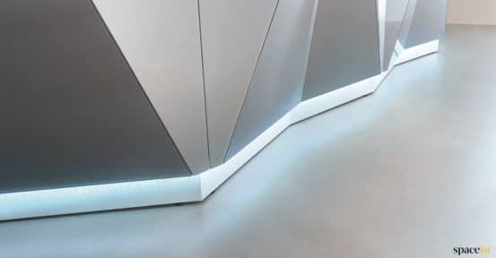 Silver reception desk closeup