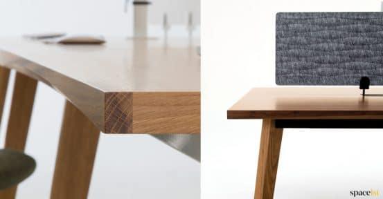Solid wood edge closeup