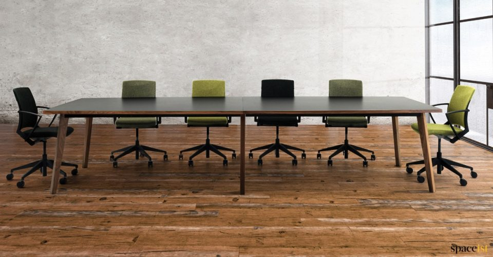Large walnut wood meeting table