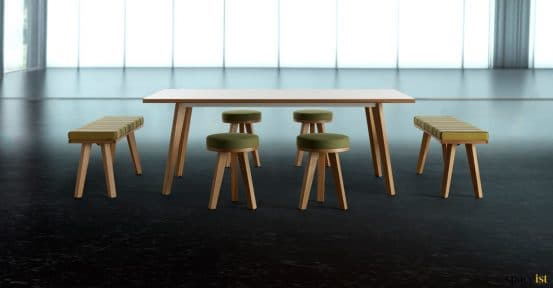 Meeting table with stools
