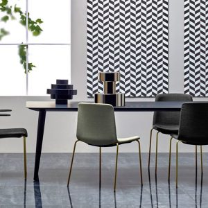 Babila black meeting table with brass leg chair