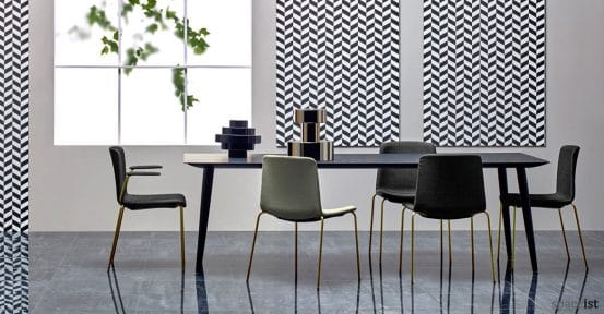 Babila black meeting table with brass leg chair