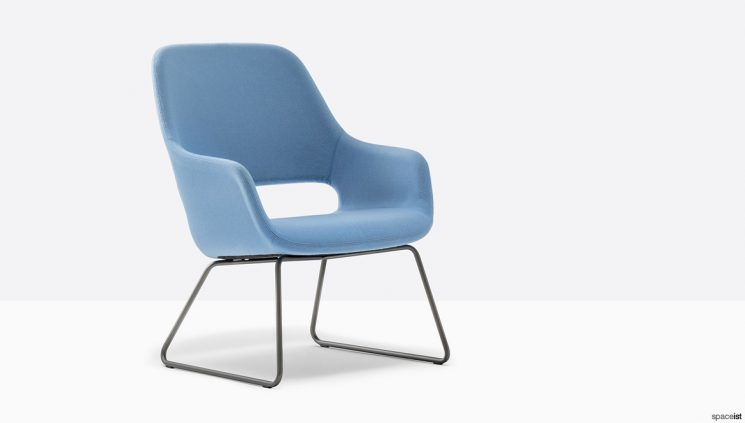 Blue Reception Chair with a High Back