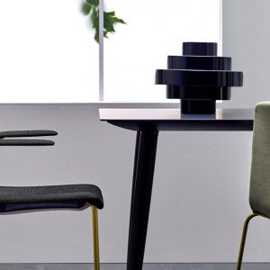 Babila black meeting table with black chairs