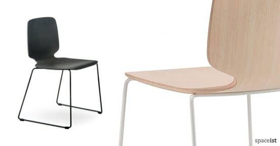Babila black cafe chair with a loop leg