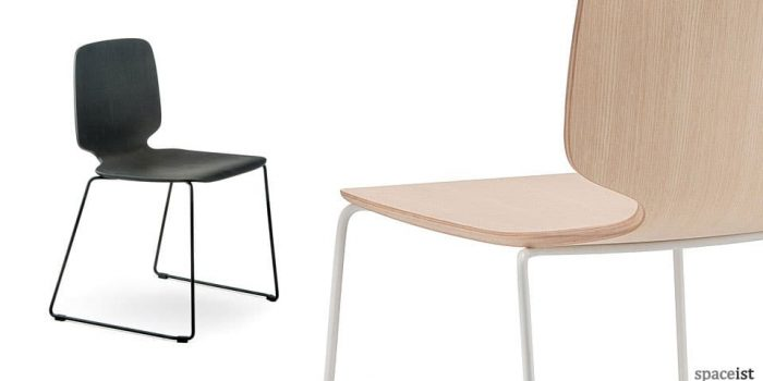 Babila black cafe chair with a loop leg