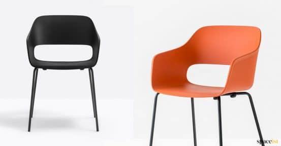 black + orange chair