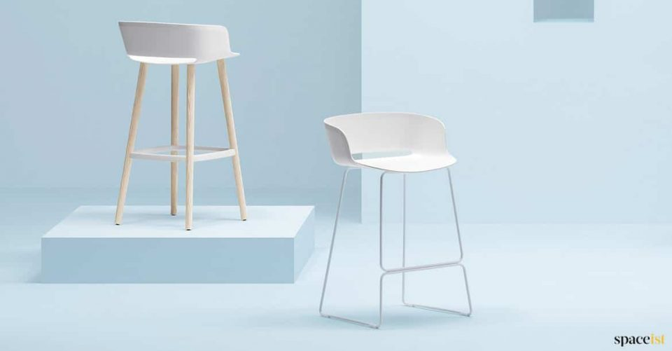 White stacking stool with back