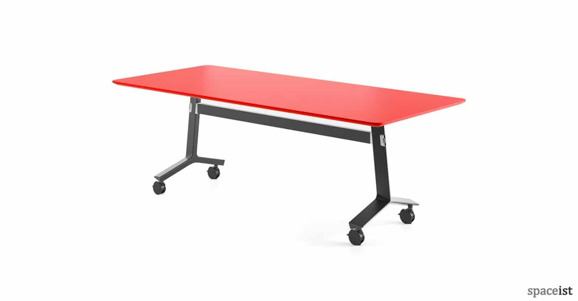 Blade Folding Table Black Base With Red Top