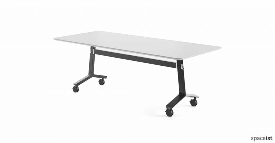 Blade folding table black base with white top
