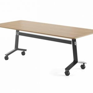 Blade folding table black base with wood top