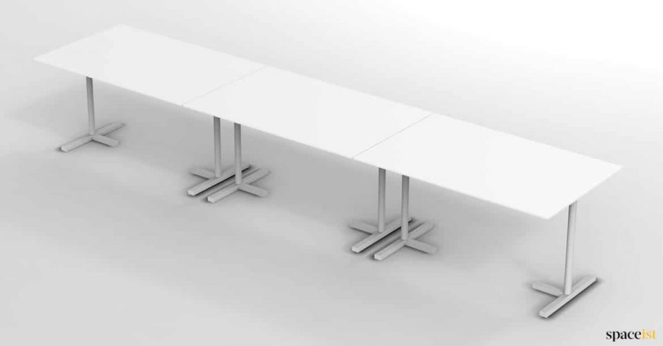 Push together white canteen table