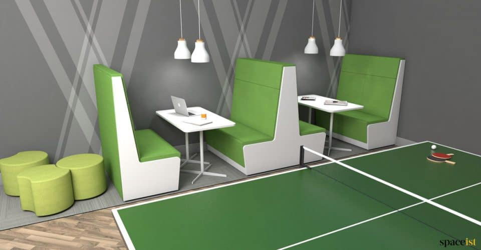 Green 4 seater booth