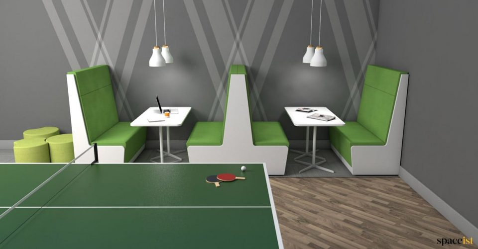 Booth with table tennis table
