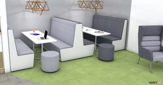 Grey booth seating to seat 8 people