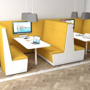 Yellow booth with TV