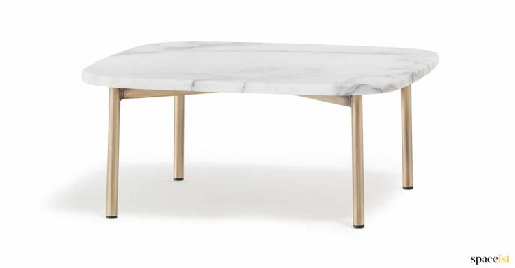 White marble table with brass legs