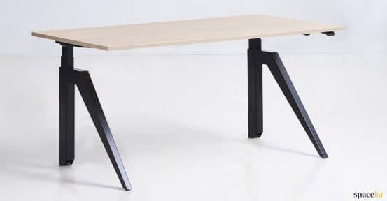 black + oak adjustable desk