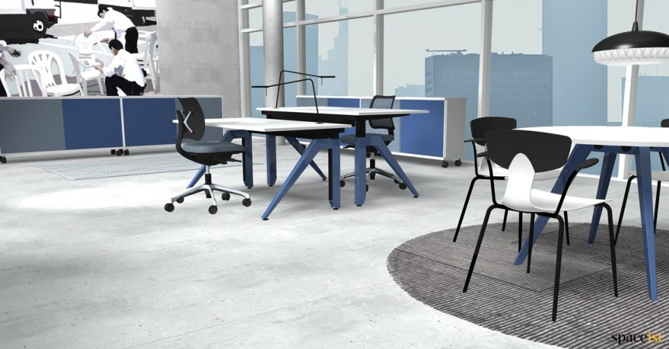 Cabale height adjustable table with blue leg