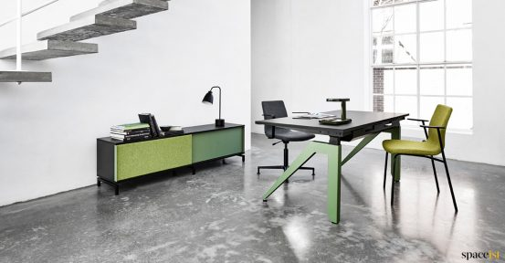 Green leg standing desk