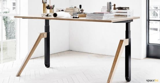 Cabale standing desk with oak legs + top
