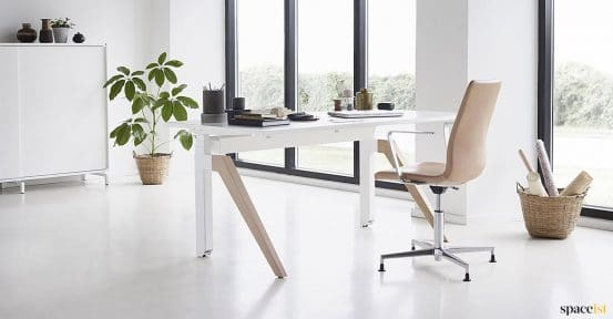 White + oak adjustable desk