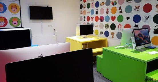 Colourful school computer desks double