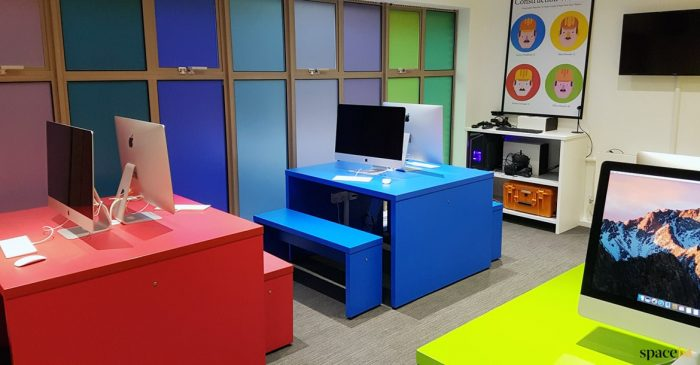 Red + blue school computer desks