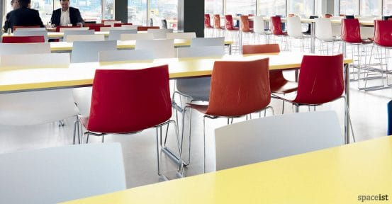Catifa46 red cafe chair with chrome legs