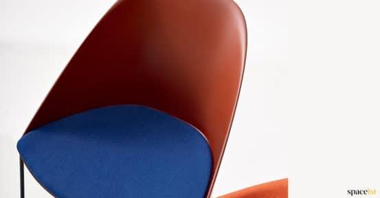Brown + blue seat