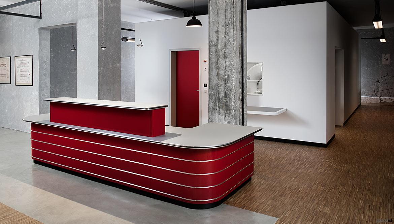 Red corner desk