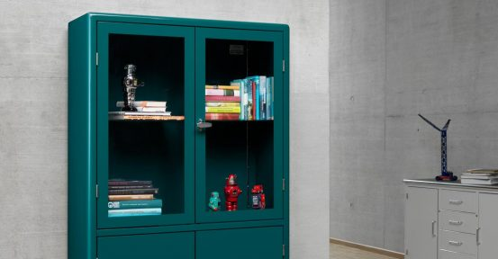 Tall glass door cabinet