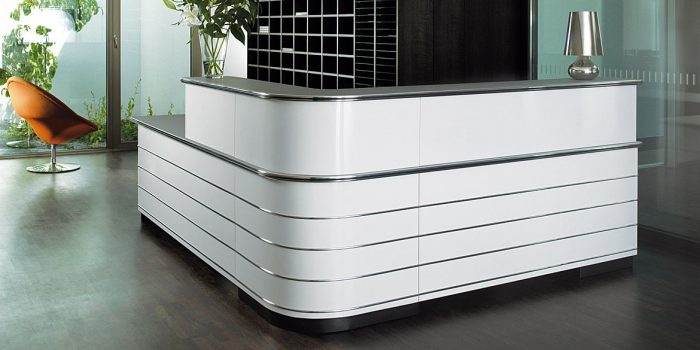 White corner desk chrome