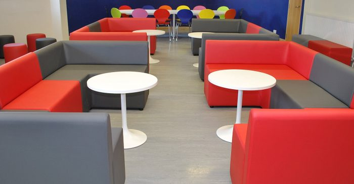 Red and grey common room seating cubes