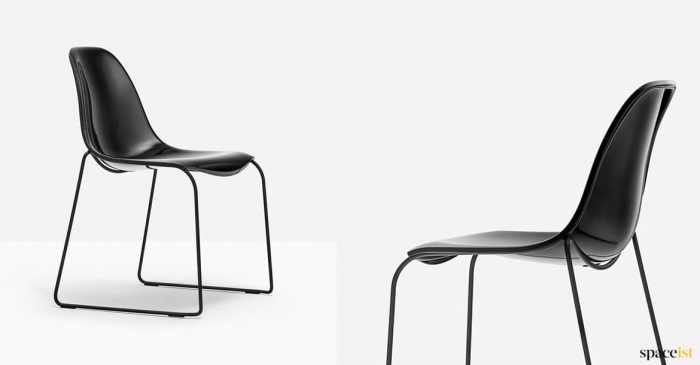 Glossy black chair with sled leg