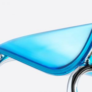 Translucent blue cafe chair