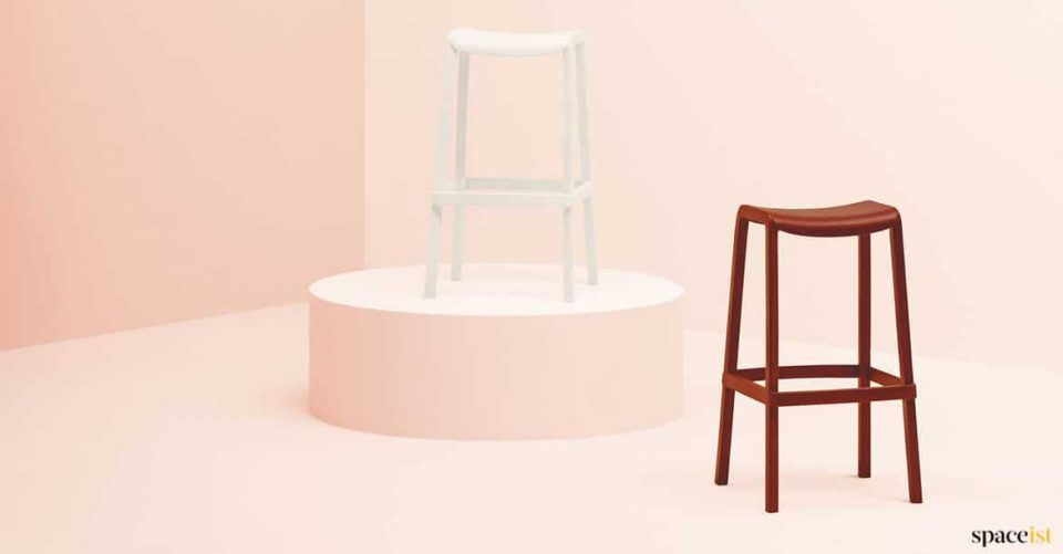 White and red stool