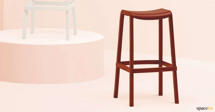Red stool closeup